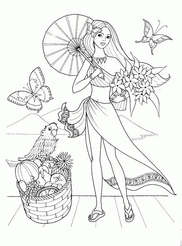 Fashion Model For Summertime Coloring Page