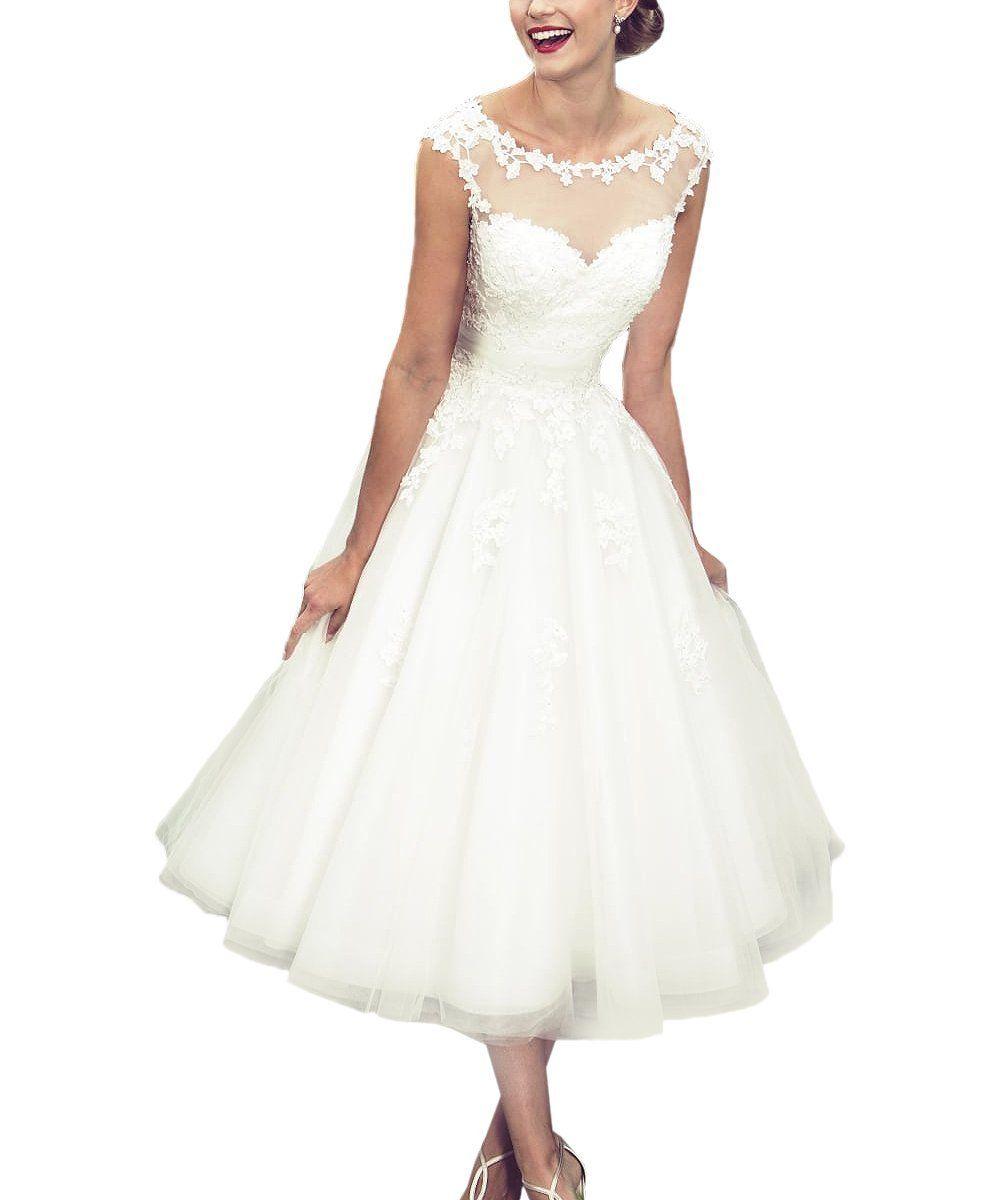 Womenus elegant sheer vintage short lace wedding dress for bride at