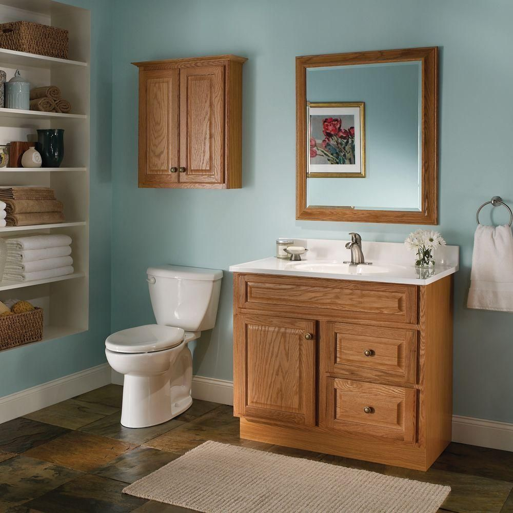 Glacier Bay Hampton 36 In W X 21 In D X 33 5 In H Vanity Cabinet Only In Oak Hoa36d The Home Depot Oak Cabinets Oak Bathroom Cabinets Oak Bathroom