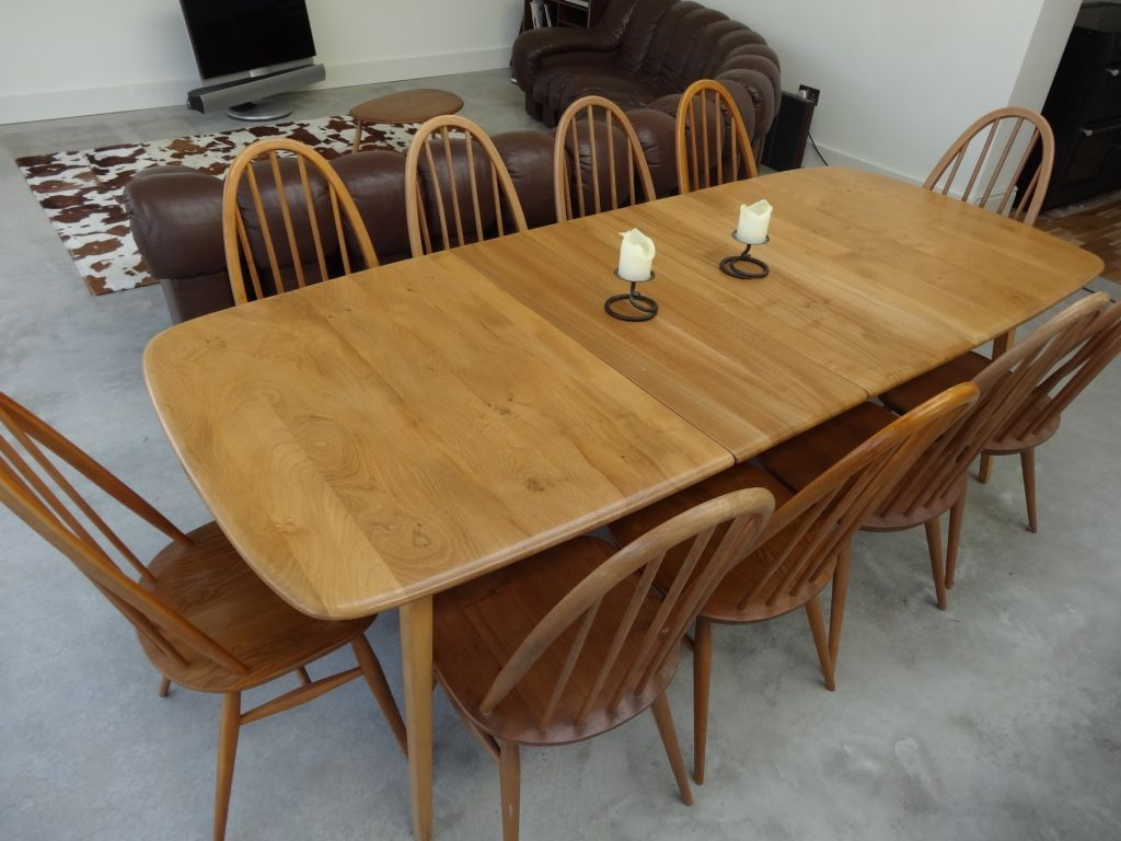 Large Ercol Extendable 5 Legged Table With 10 Chairs Ercol