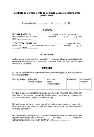 Plantilla Contrato De Compraventa De Vehículo Usado Contrato De Compraventa Venta De Vehiculos Venta De Vehiculos Usados