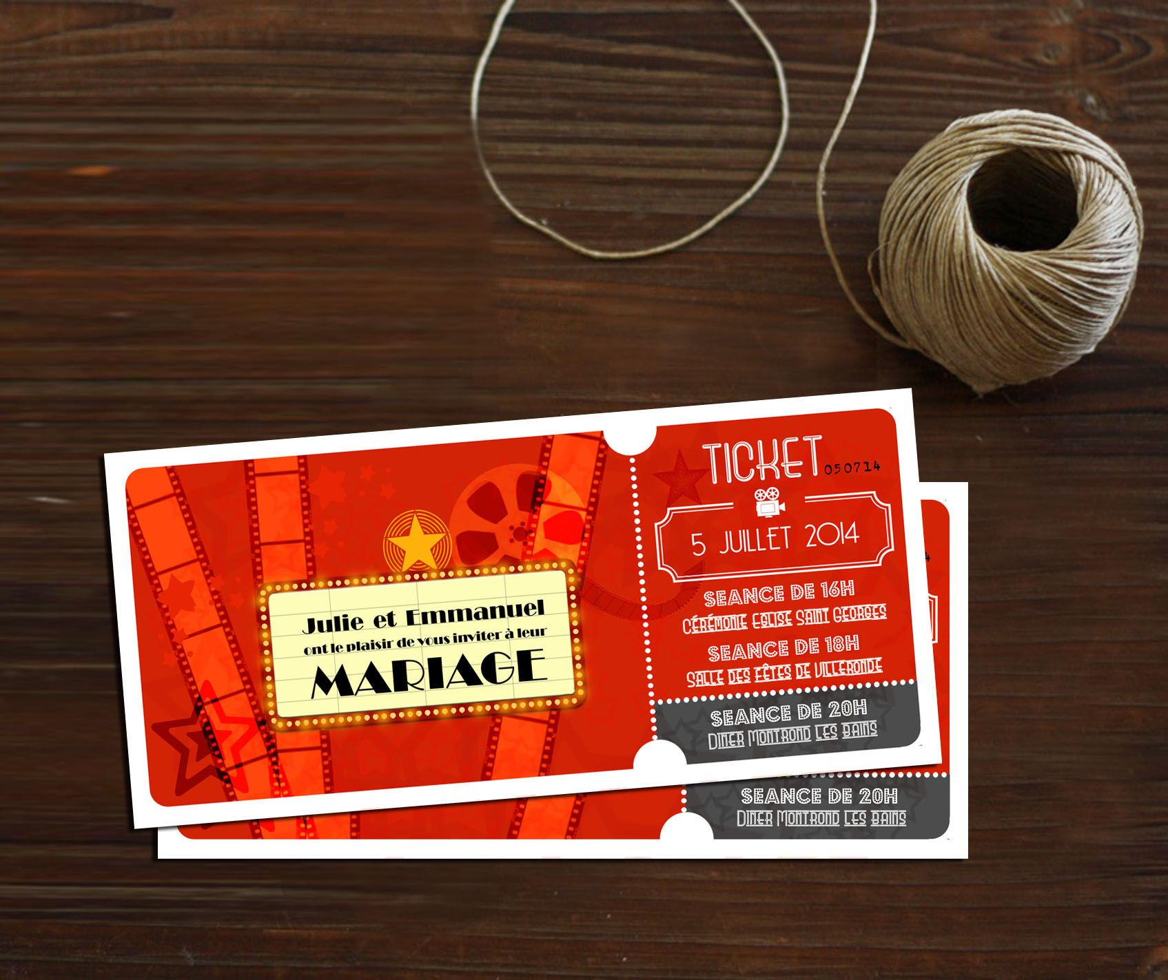 movie ticket stub wedding invitation%0A Mariage th  me CINEMA  Fairepart Ticket de cin  ma   Les Faireparts d