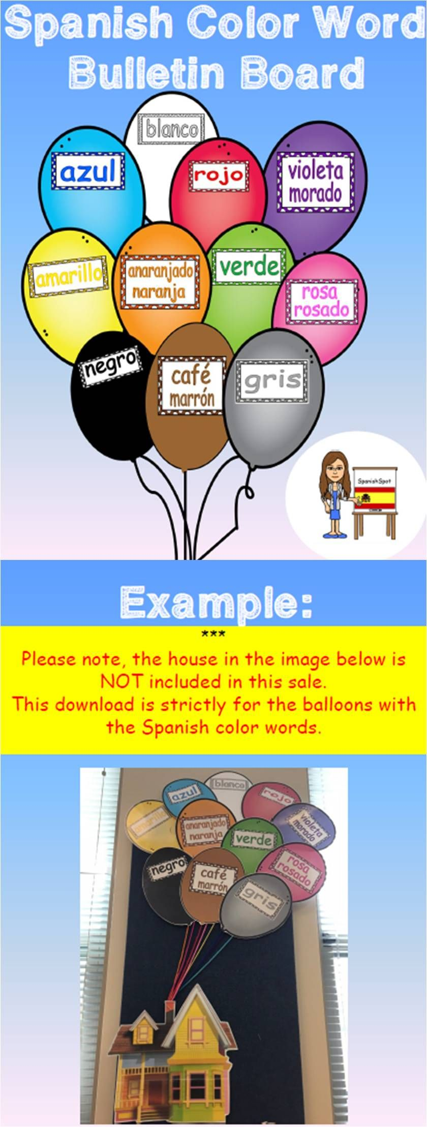 Spanish colors for preschool - Spanish Color Word Bulletin Board With Balloons