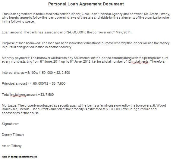 Printable Sample Personal Loan Agreement Form Laywers Template - loan contract example