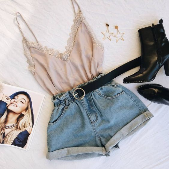 Photo of Short jeans, tank top and ankle boots.