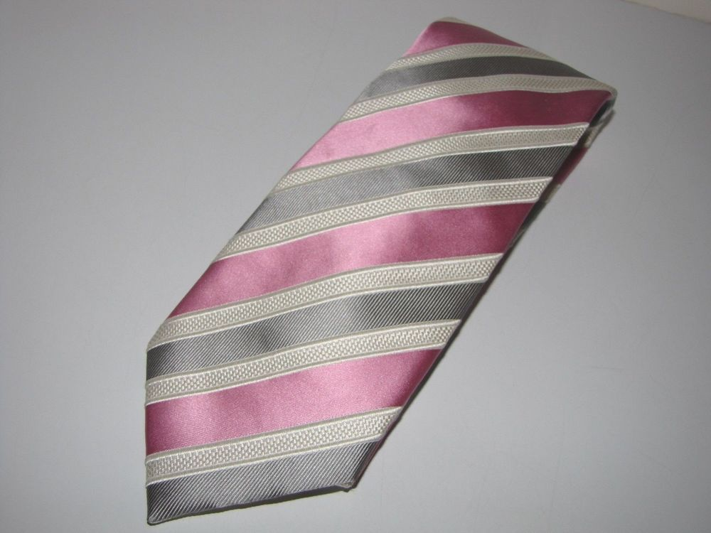 Donald Trump Silk Necktie Pink, Silver & White Stripes Signature Collection…