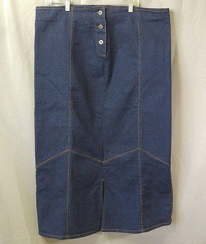 Long denim skirt modest dark jean skirt chevron seam front back kick
