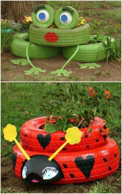 Tierreifen Pflanzer Garten Kunst —- 20+ Fab DIY Ideen, um alte Reifen für
