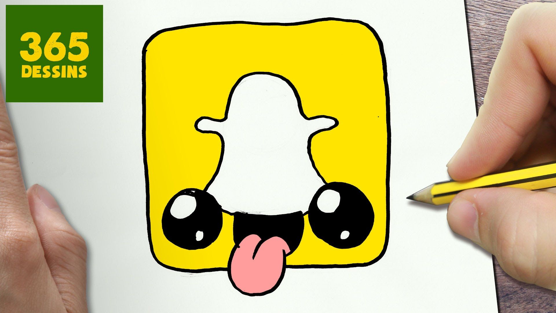 Comment dessiner logo snapchat kawaii tape par tape - Dessins facile ...