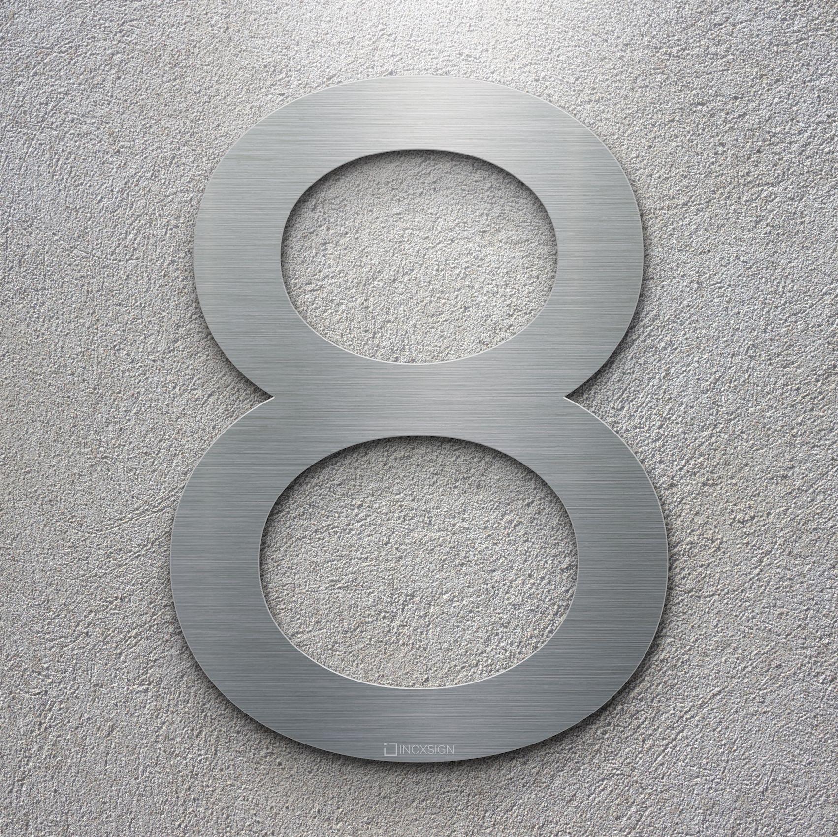 neu inoxsign klasische edelstahl hausnummer 8 moderne hausnummern aus edelstahl geb rstet. Black Bedroom Furniture Sets. Home Design Ideas