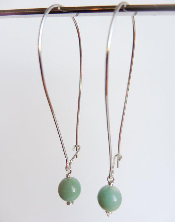 Green gemstone sterling silver kidney earwires  #SilverZoo #handmade #Etsy #SterlingSilver #earrings