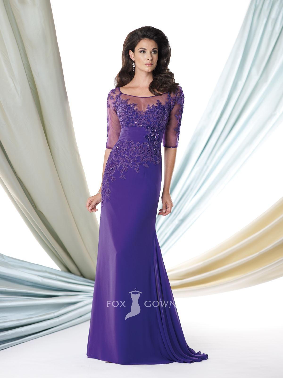 violet floral applique sheer half sleeve floor length a-line mother ...