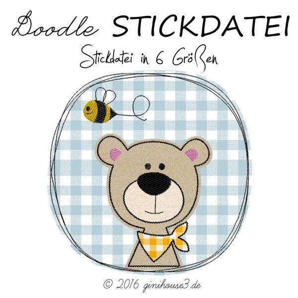 Stickmuster - DOWNLOAD Stickdatei Doodle Button HONIG-BÄR 10x10 ...