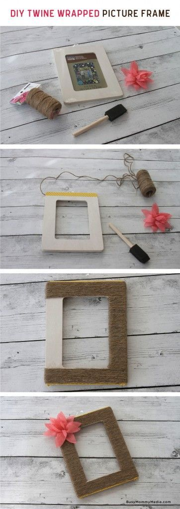 DIY Twine Wrapped Picture Frame on BusyMommyMedia.com | This would make such a cute homemade gift idea!