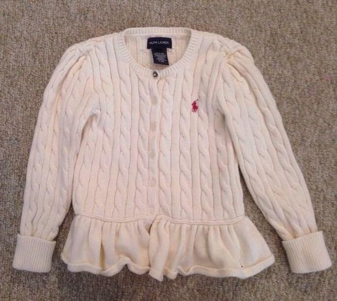 Ralph Lauren Girls Cream Cable Knit Cardigan Sweater with Ruffle Bottom size 6 #ralphlauren #Cardigan #DressyEverydayHoliday