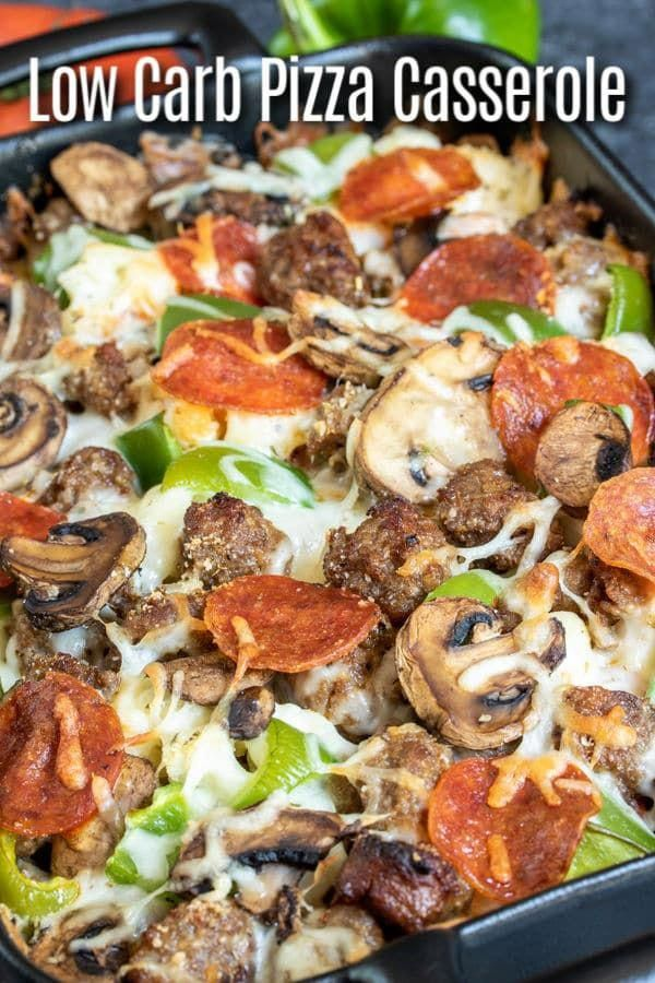 Low Carb Pizza Casserole is an easy keto dinner recipe made with all of your favorite pizza toppings pepperoni green peppers sausage mushrooms and lots of mozzarella chee...