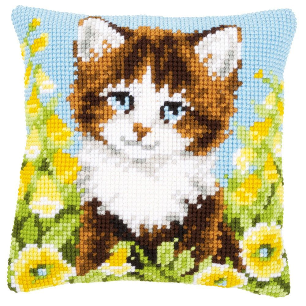 Cat & Yellow Flowers Vervaco Chunky Cross Stitch Cushion