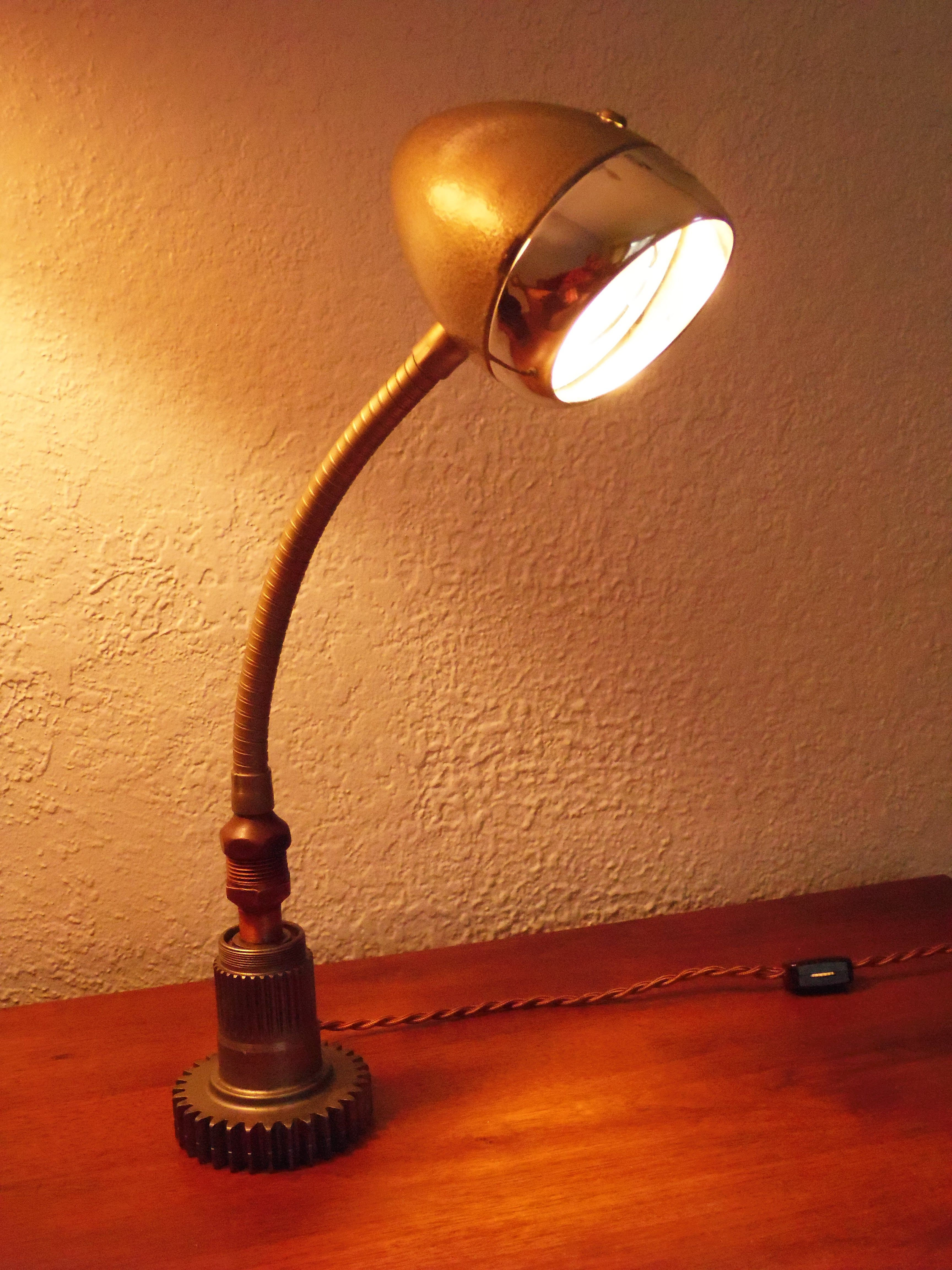 Lamp Made From Vintage English Miller Bike Headlight Lamp Cool Lighting Recycled House