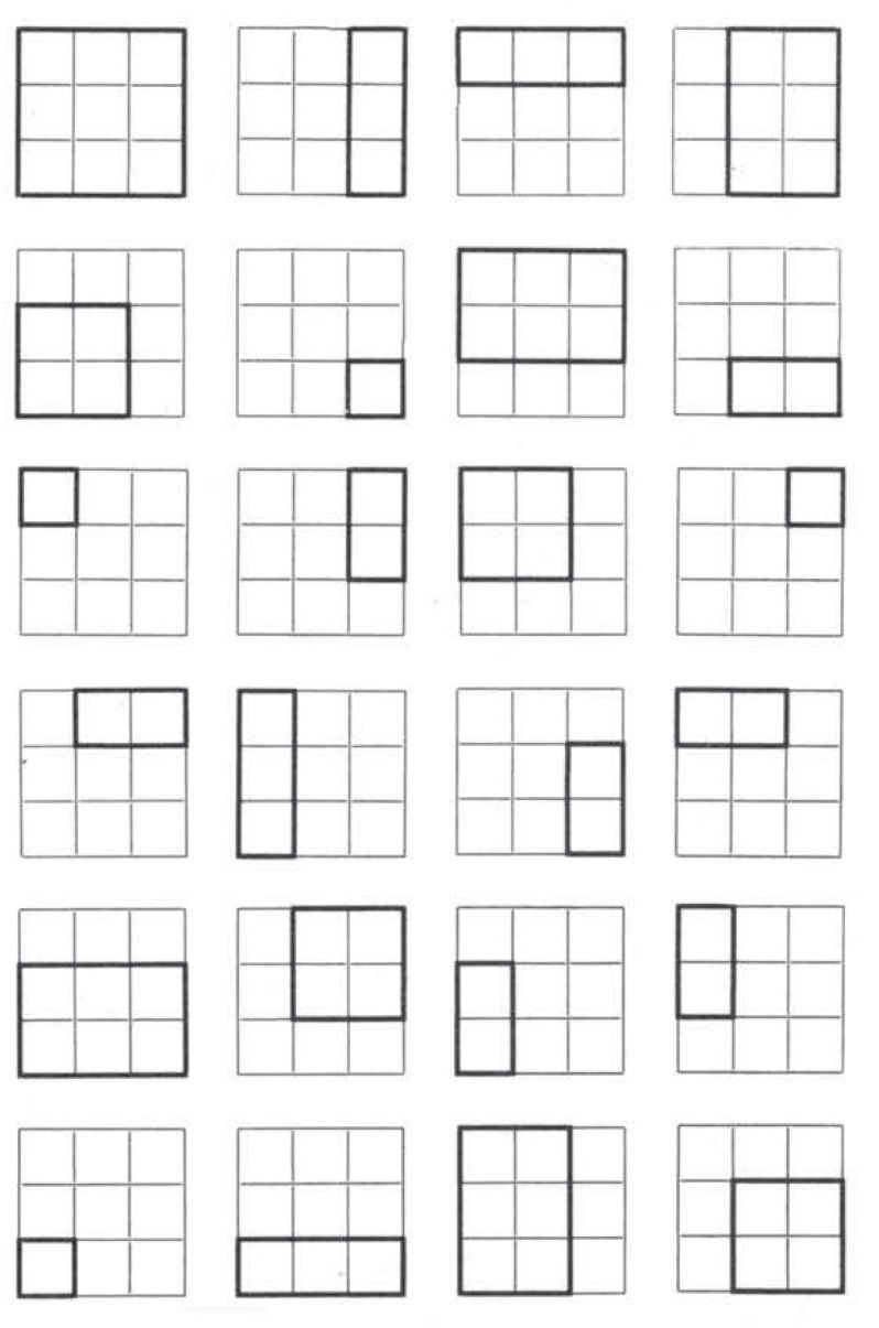 a 3x3 grid showing its vast amount of inherent spatial