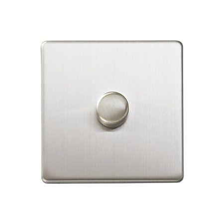 Varilight 2Way Single Brushed Silver Effect Dimmer Switch