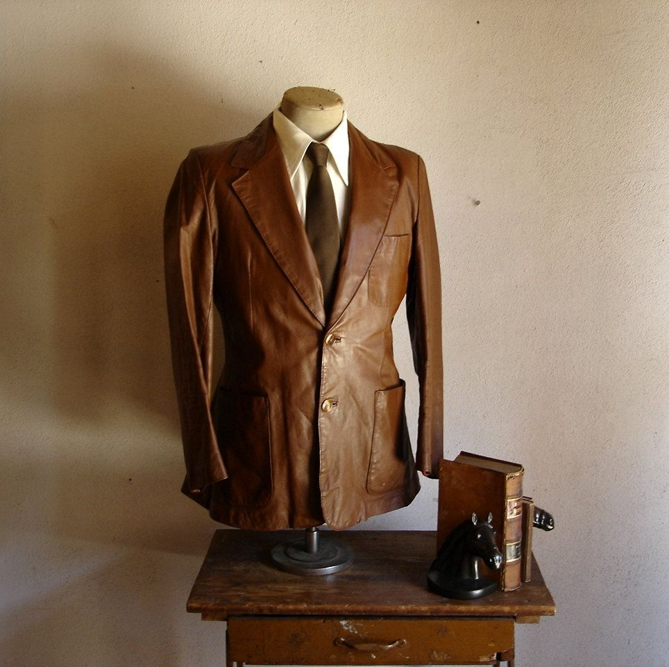 1970s Leather Suit Jacket Mens Vintage Brown by TheNakedManVintage ...