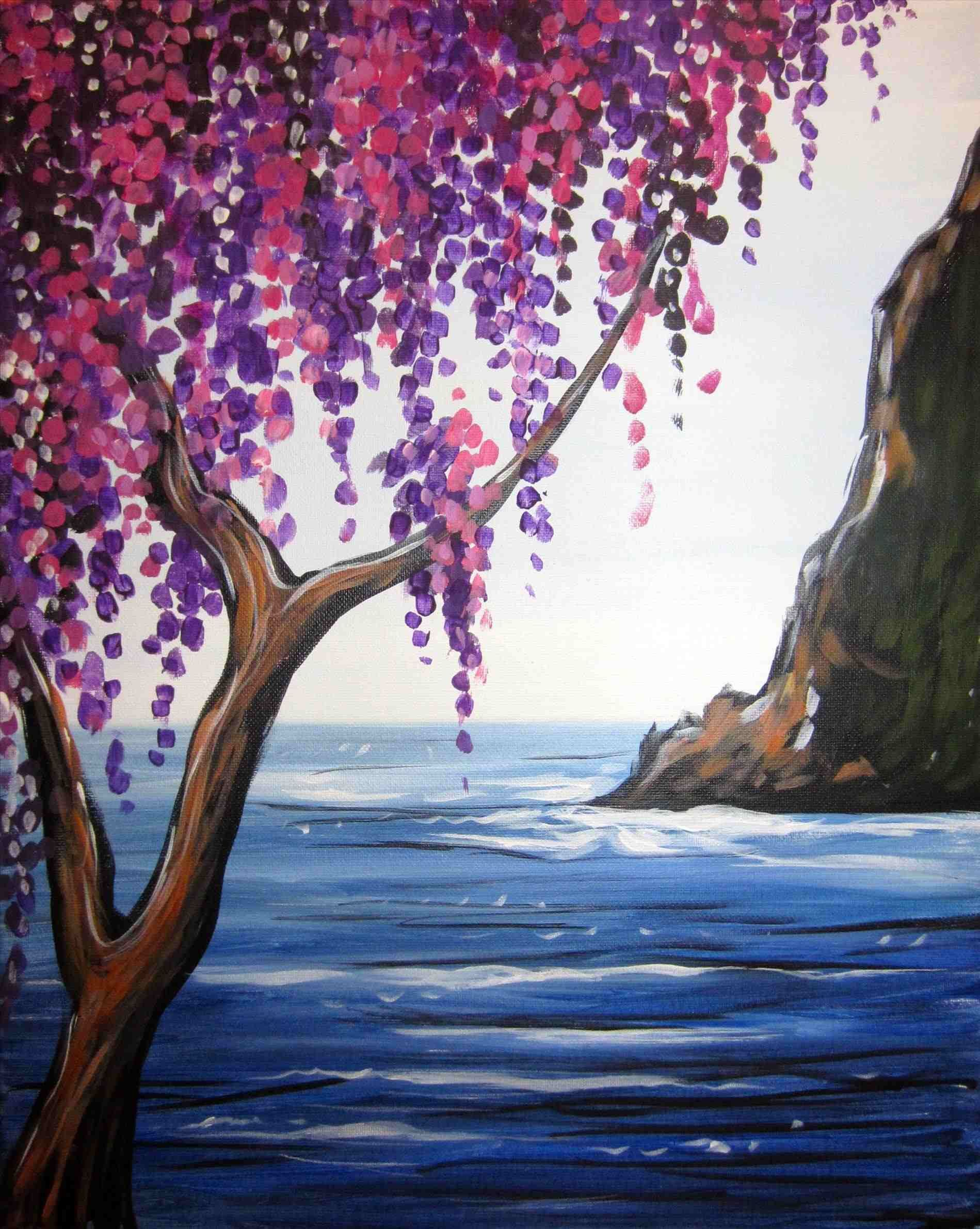 easy silhouette painting nature image of acrylic paintings ideas