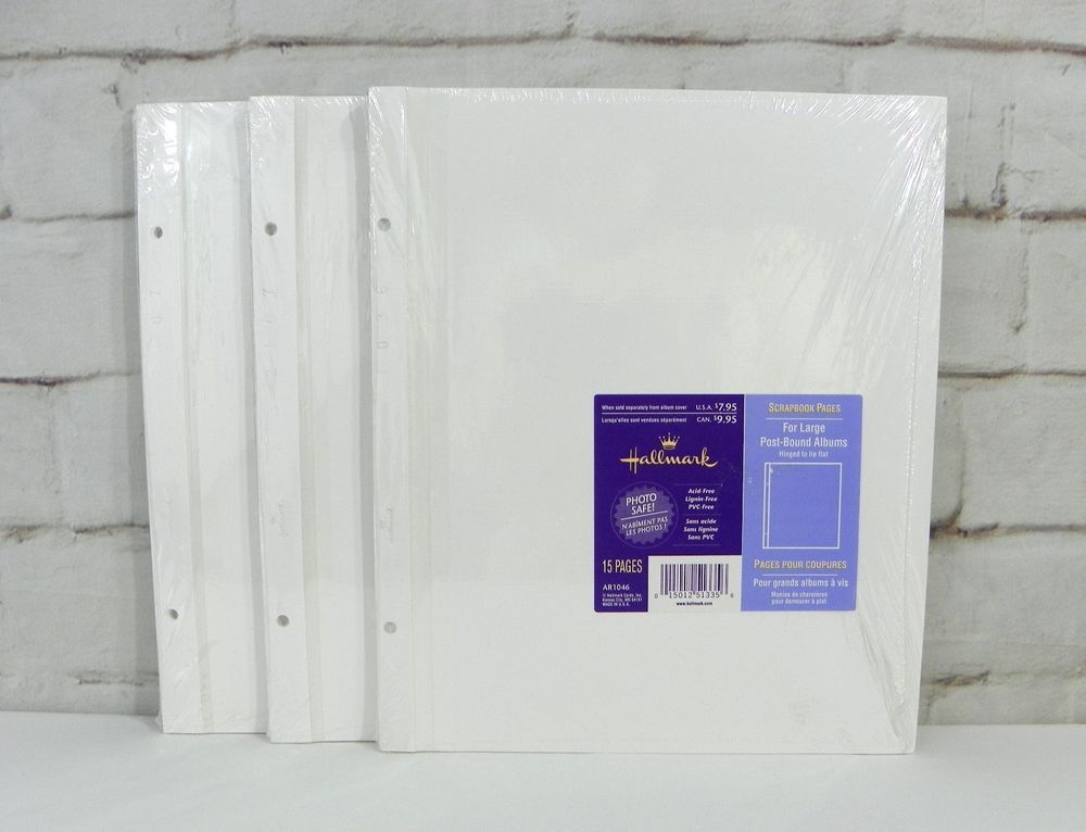 hallmark large post bound white scrapbook page 3 refill ar1046 45