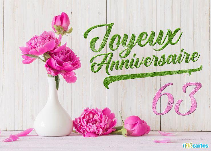 Carte Anniversaire 63 Ans Fleurs De Pivoine Carte Anniversaire Fleurs Carte Anniversaire Gratuite Carte Joyeux Anniversaire