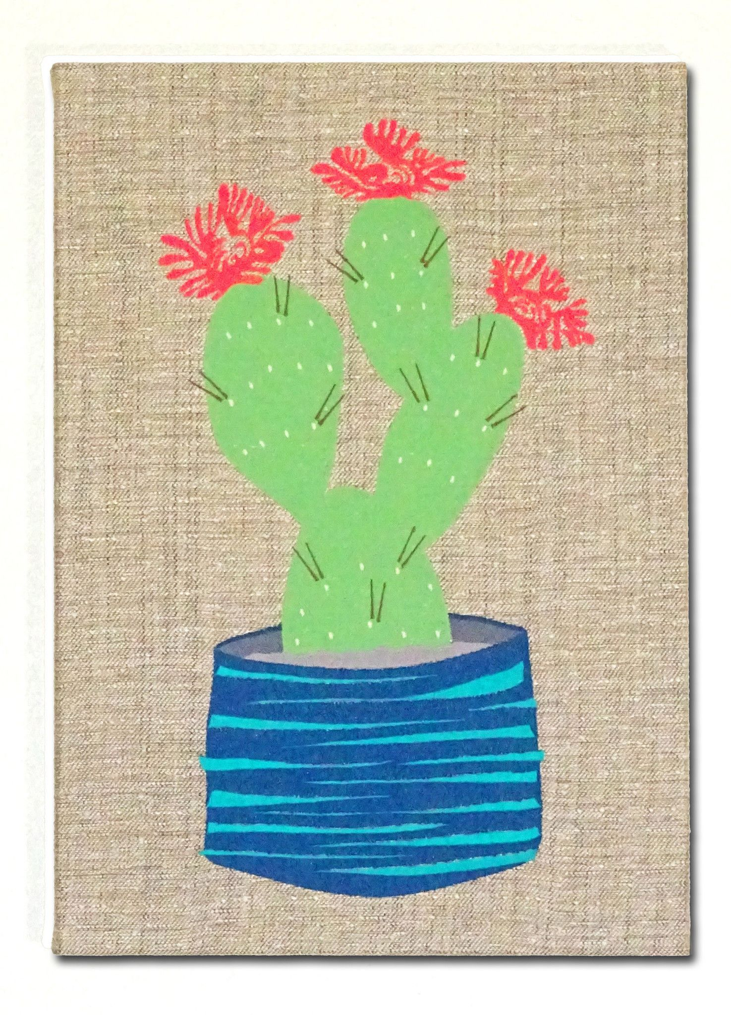 """Embroidered Artwork, Wall Hanging - """"Cactus Flower"""""""