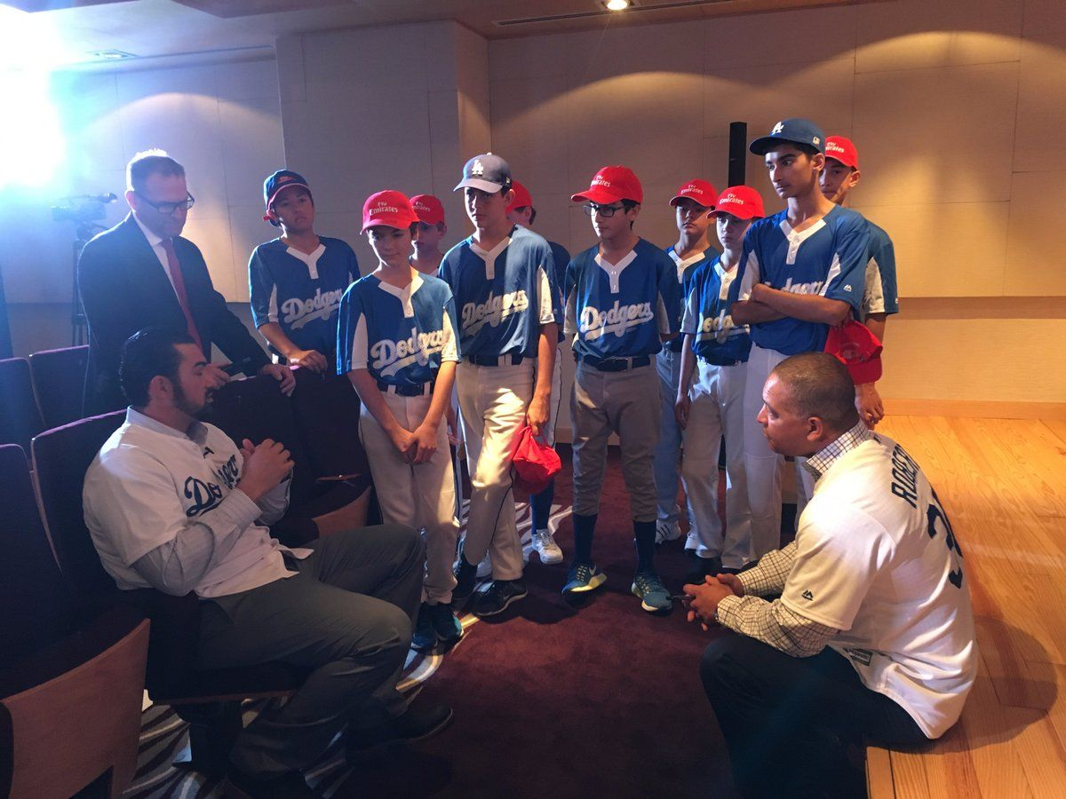 Once again, the Dodgers prove that they are willing and able to spread the gospel of Baseball to far off places.  This weekend, both Adrian Gonzalez and Dave Roberts are in Dubai visiting the Dubai Little League.  They will inaugurate the Emirates Airline Dubai Little League Park, hold a players clinic, sign autographs and watch a friendly match between the Dubai Dodgers and another local club.
