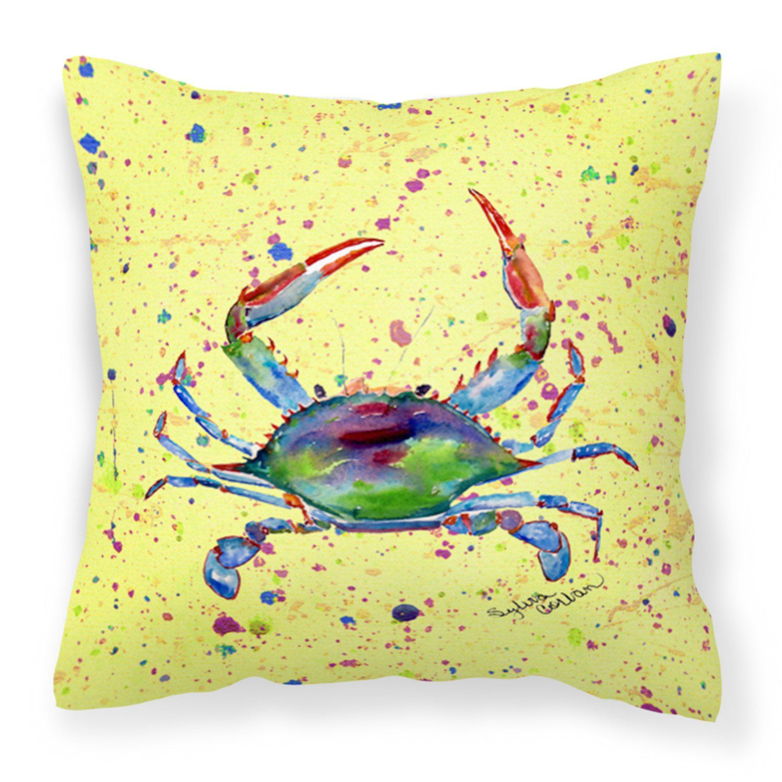 Carolines Treasures Watercolor Crab on Speckled Ground Square Outdoor Pillow Yellow