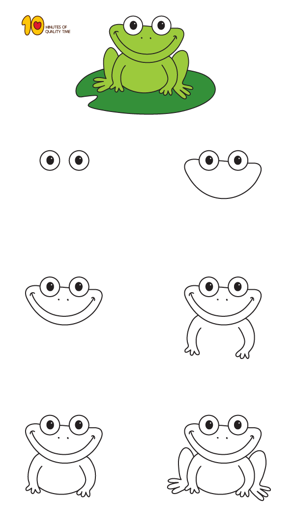 How To Draw A Frog Step By Step For Kids With Images Art