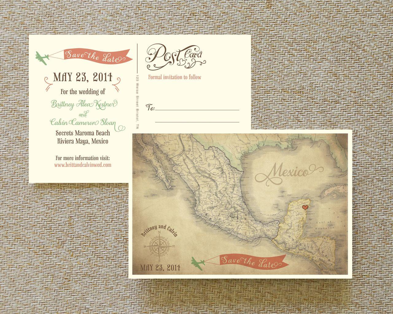 Vintage Map Postcard Save the Date (Mexico) Destination