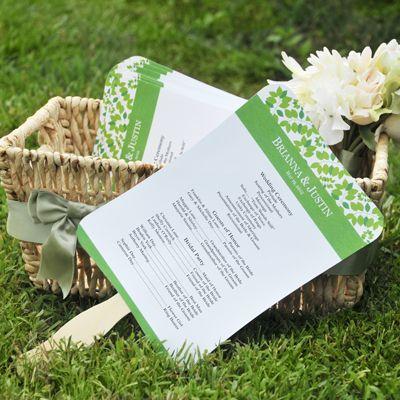 Leafy wedding program fans kit 5000 weddingideas pinterest asian white paper fans wedding fansdiy solutioingenieria Image collections