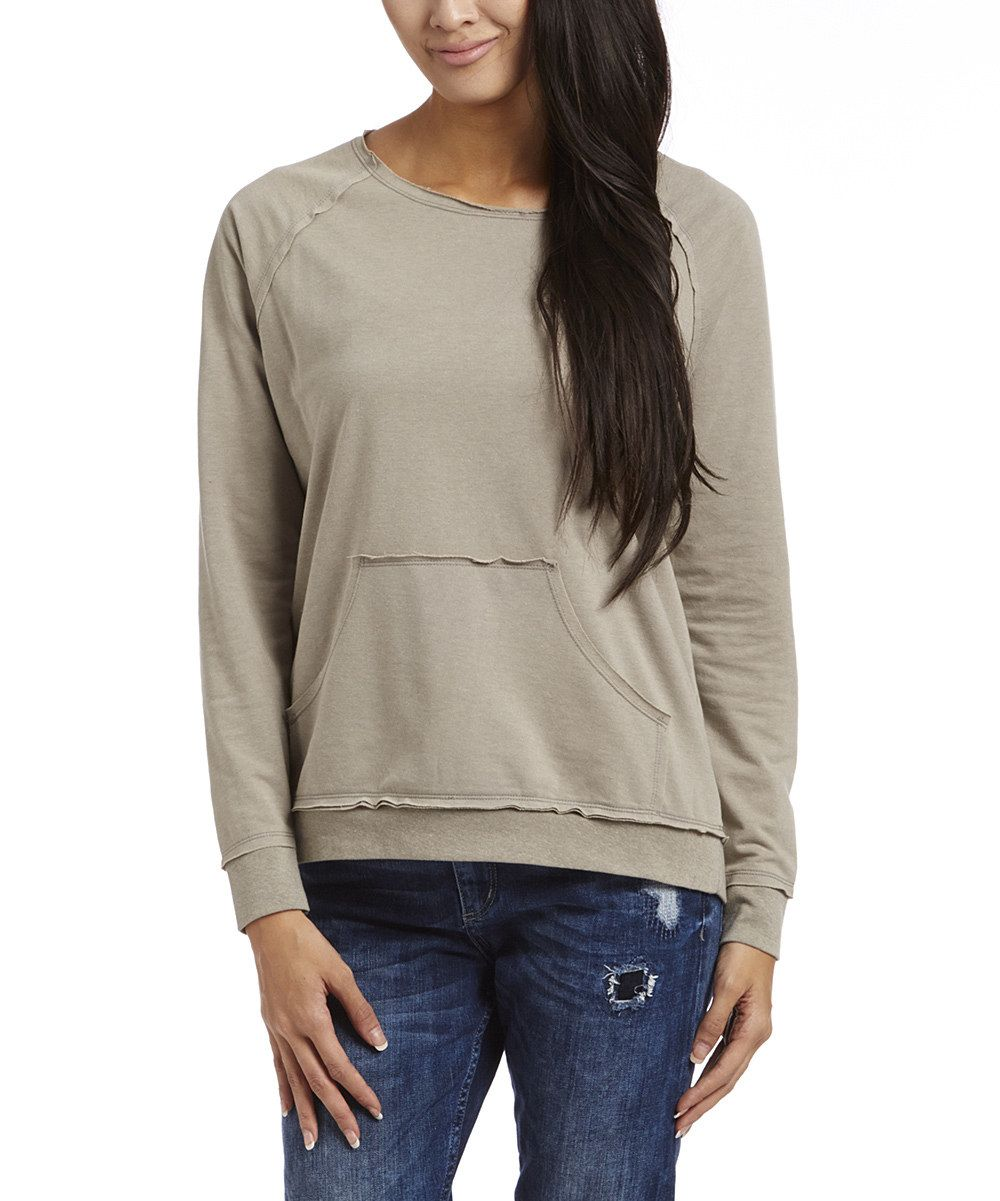 Look at this Melrose Chic Gray Kangaroo-Pocket Sweater on #zulily today!