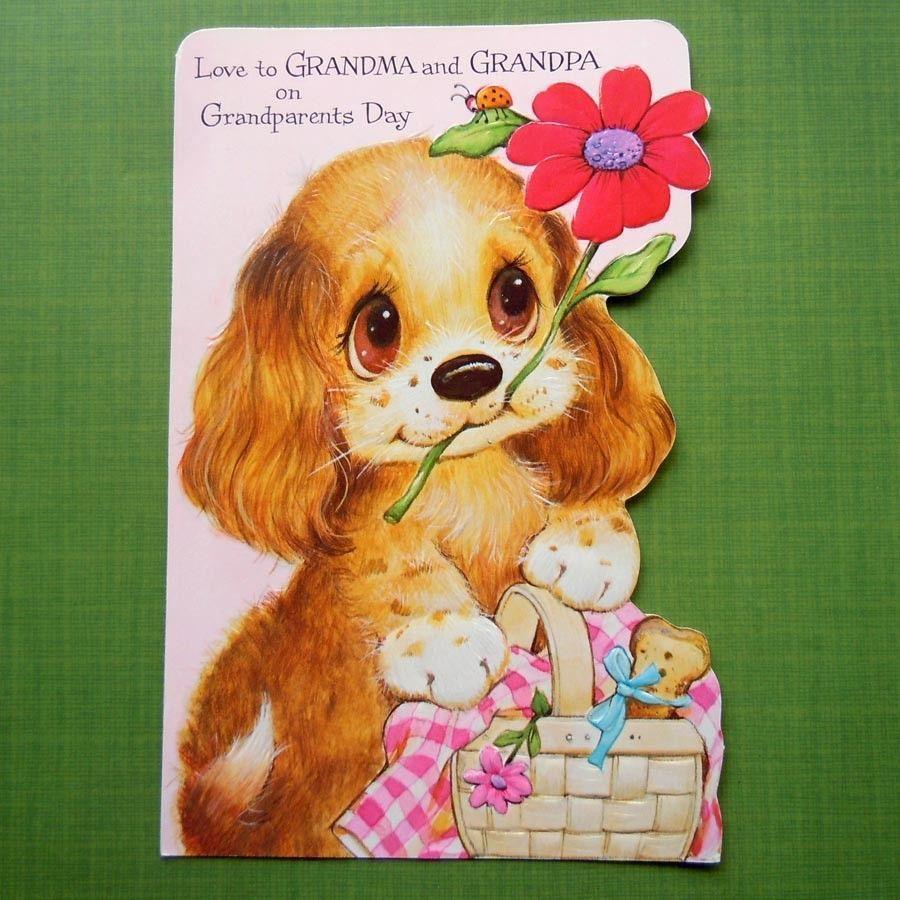 Vintage die cut big eyed puppy dog with ladybug greeting card