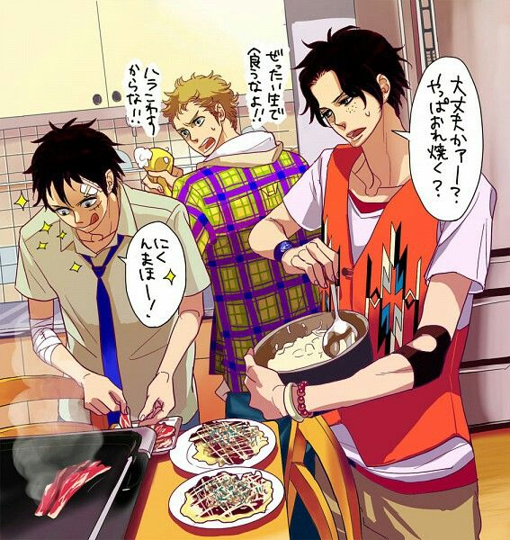 Ace, Sabo, Luffy, brothers, cooking, funny, house, meat, omelet, text; One Piece
