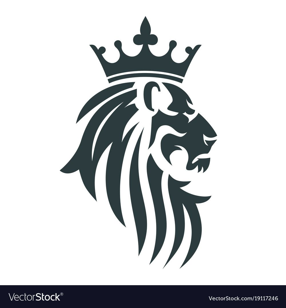 The Head Of A Lion With A Royal Crown Vector Image On Vectorstock Tribal Lion Lion Images Tribal Lion Tattoo