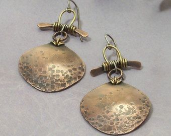 Mixed Metal Wire Wred Earrings Handmade Hammered Copper Earring Jewelry Zen
