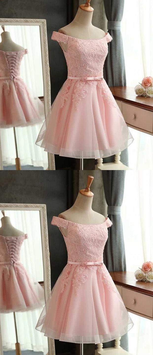 Aline off the shoulder laceup pink tulle short homecoming dress