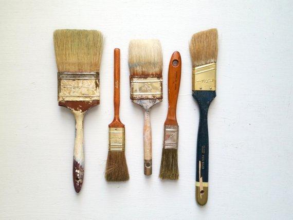 Five Antique Paint Brushes Vintage