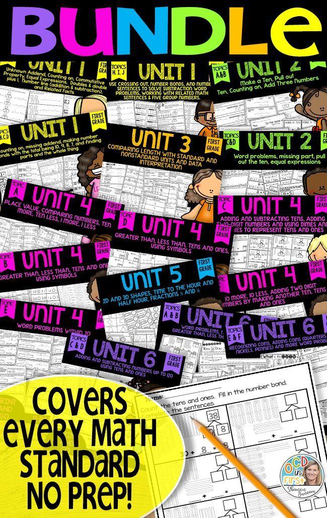 Math Worksheets 1st Grade Bundled Print And Go Modules 1 6 Math