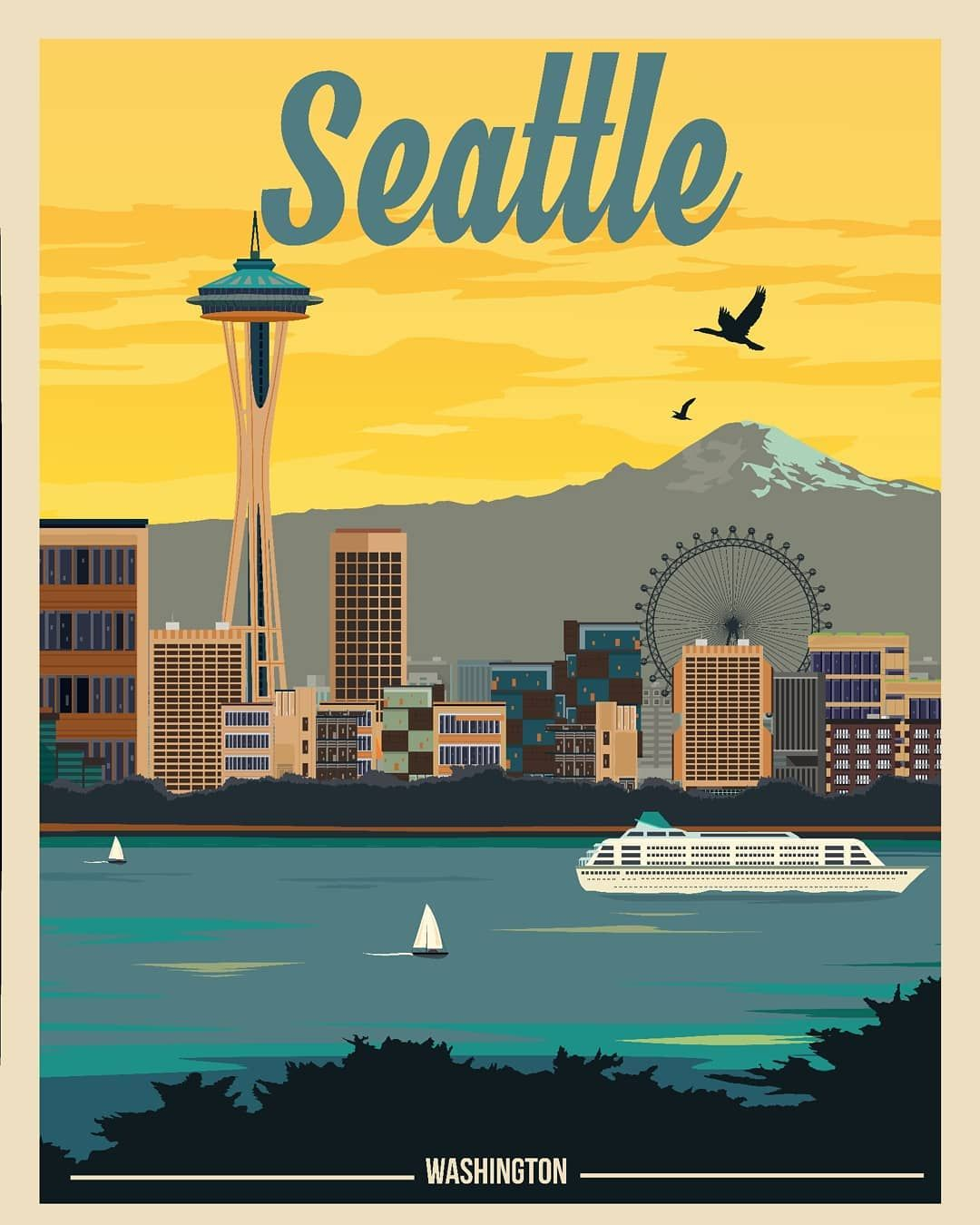 We Seattle Get Yours Today On Paper Framed Or On Canvas Pictured At Bcgoodsintl Com T Travel Posters Vintage Travel Posters Vintage Postcards Travel