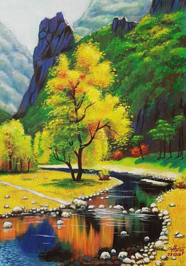 Colourful Landscape Painting In 2020 Beautiful Landscape Paintings Landscape Paintings Oil Painting Landscape