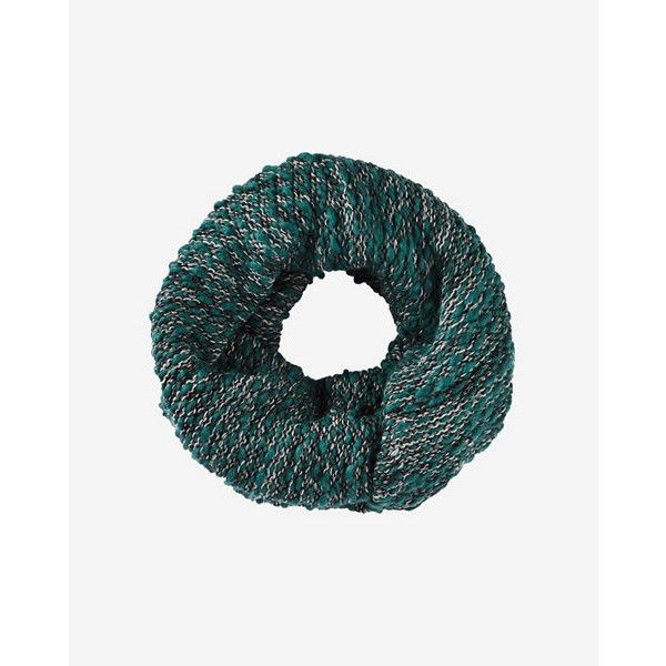Express Green Marl Knit Twist Loop Scarf ($30) ❤ liked on Polyvore featuring accessories, scarves, green, green scarves, thick infinity scarf, loop scarf, chunky scarves and chunky infinity scarf