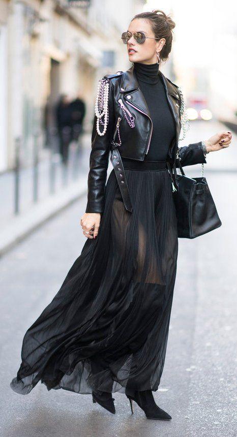 440e8906ee4e61 Alessandra Ambrosio's Paris $2,195 Moschino Chain and Pearl Biker Jacket,  $250 Wolford Black Colorado Turtleneck Bodysuit, and $1,147 Le Silla Black  Stretch ...