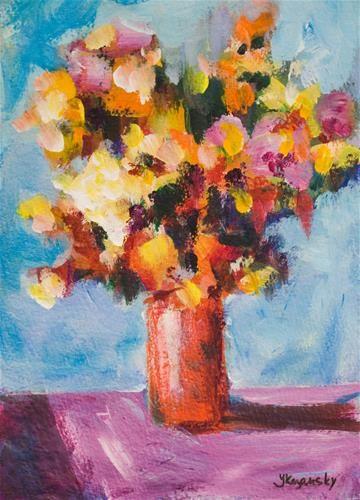Flowers In Red Vase Yulia Kazansky Flower Art Pinterest Red