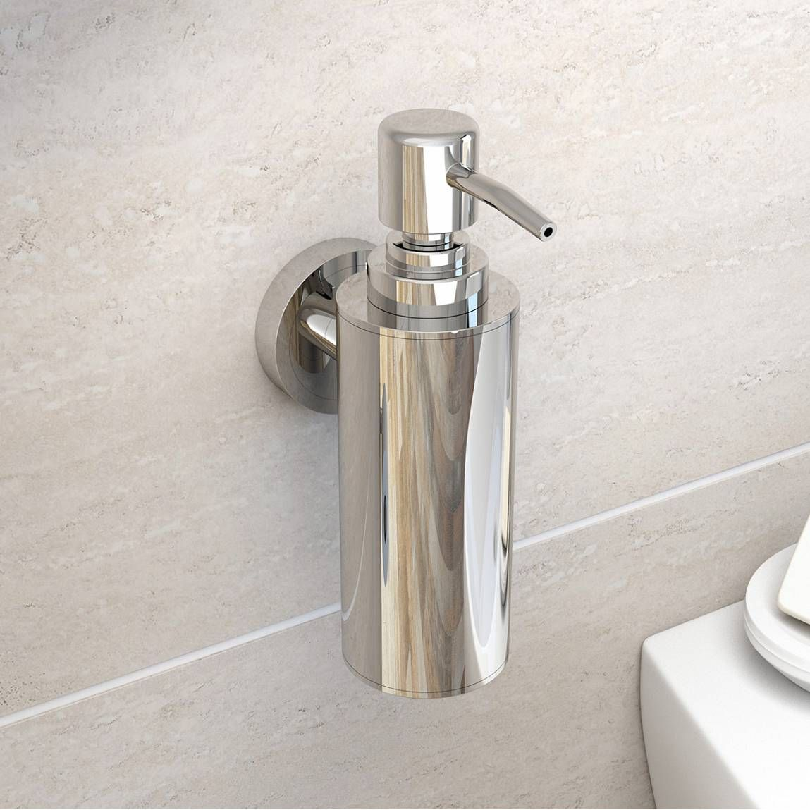 Options Wall Mounted Slim Stainless Steel Soap Pump