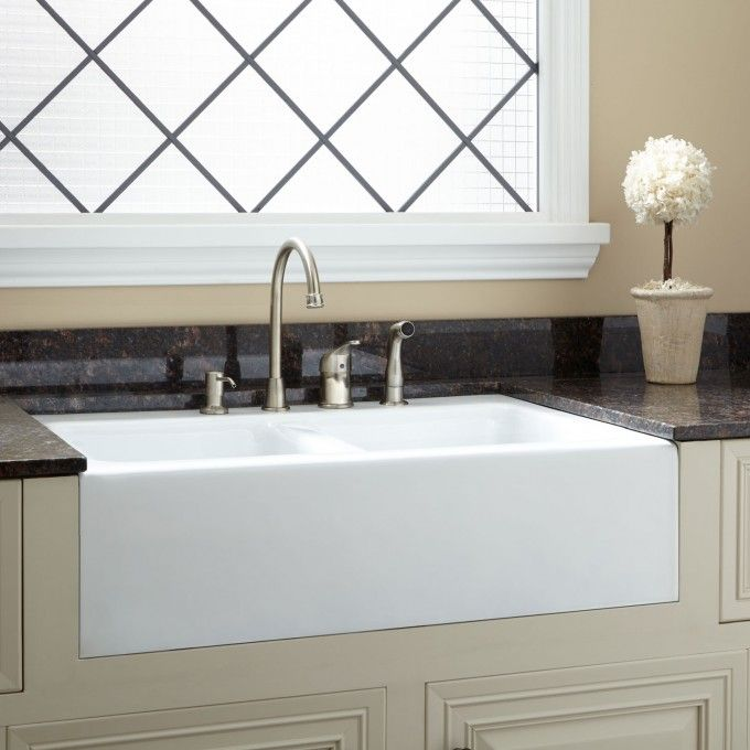 33 Angove Double Bowl Cast Iron Farmhouse Sink Single Faucet