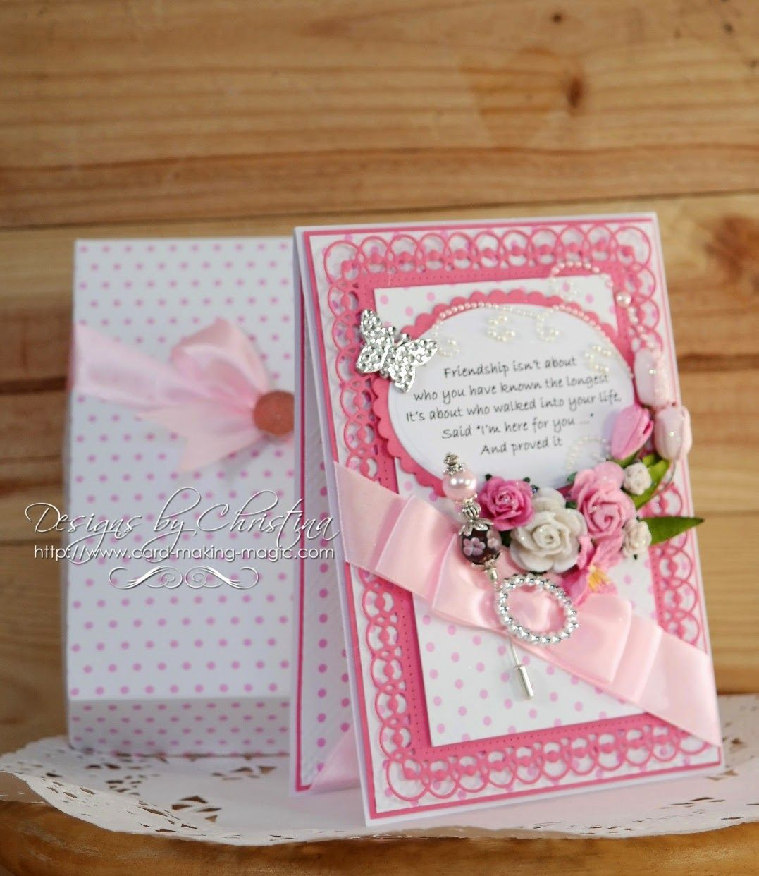 friendship card in pink flowers ribbons and pearls friendship